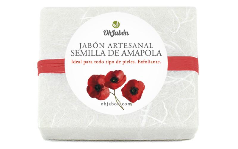 Jabón artesanal de semilla de amapola, desnudo y con envoltorio.